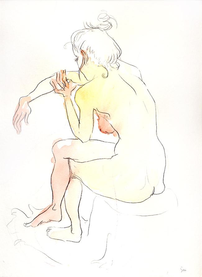 dessin nu femme sur tabouret de dosl - dessin de nu féminin