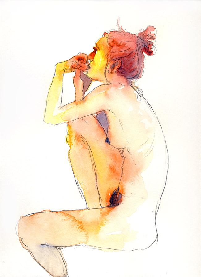 dessin nu femme sur tabouret de profil aquarelle - dessin de nu féminin