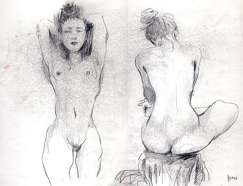dessin nu femme mine de plomb de face et de dos - dessin de nu féminin
