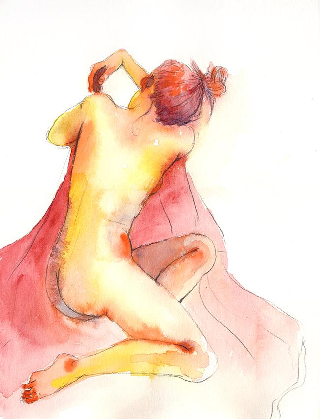 dessin nu femme aquarelle de dos - dessin de nu féminin