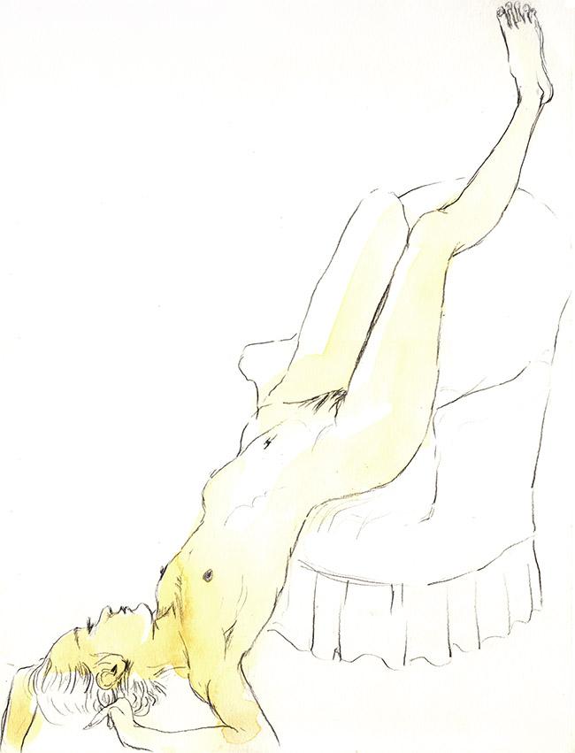 dessin nu femme aquarelle sur le sol- dessin de nu féminin