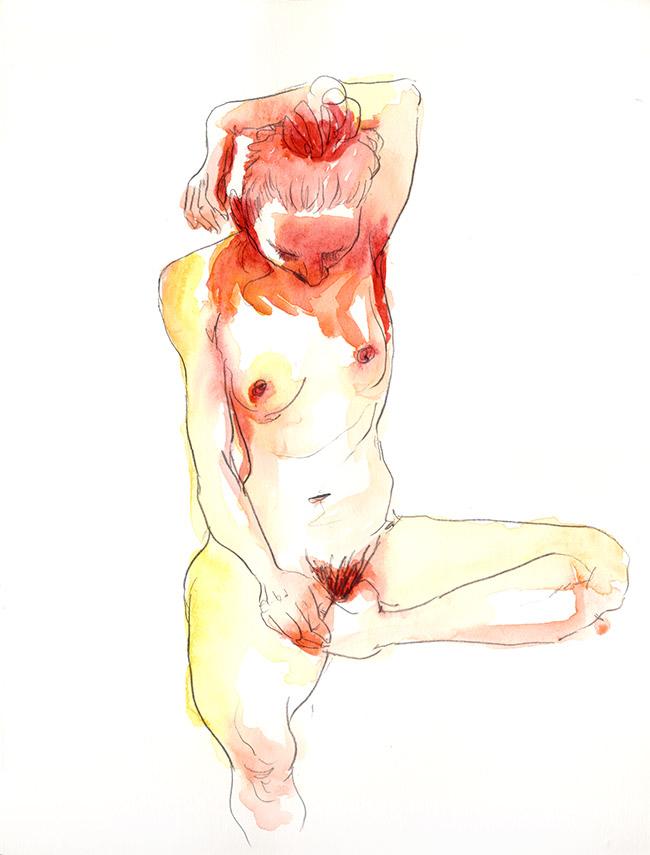 dessin nu femme aquarelle ombre de la main - dessin de nu féminin