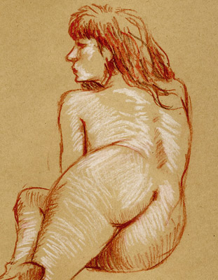 femme nue rouge de dos kraft