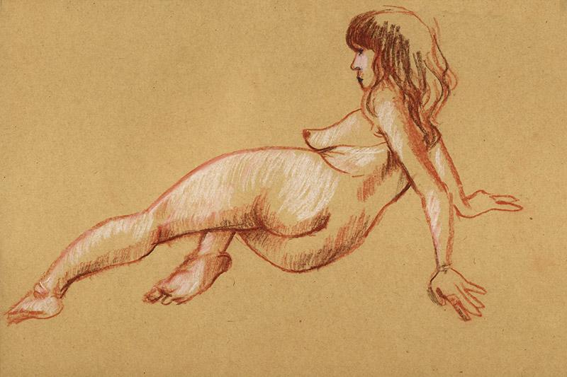 femme allongée dessin pastel rehaut blanc