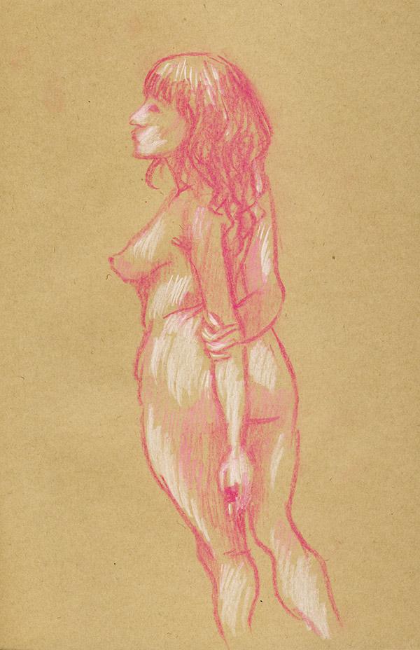 pastel rose de femme nue