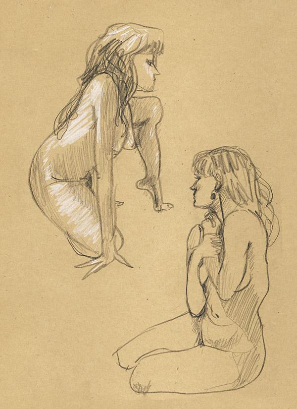 femme pastel nu atelier paris dessin