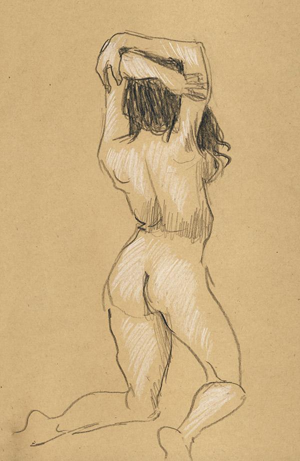 femme pastel nu atelier paris dessin pose courte kraft