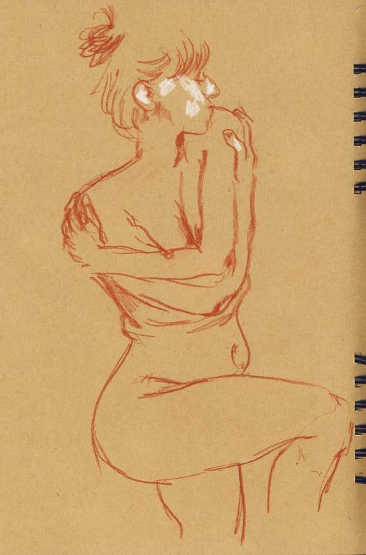 femme en dessin pastel marron dessin