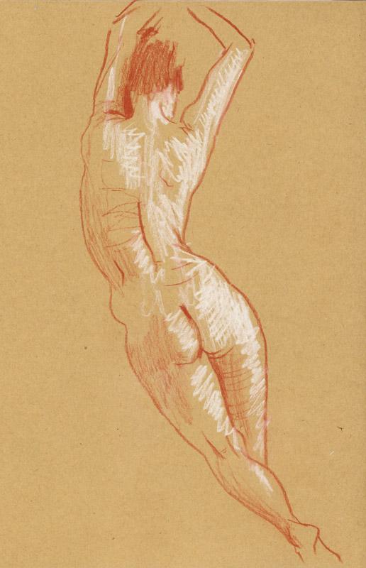 dessin de nu féminin femme danse