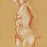 Pastels de nus féminin et leur papier kraft
