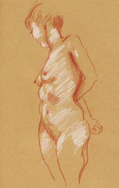 femme pastel avec rehauts de blanc atelier modele vivant