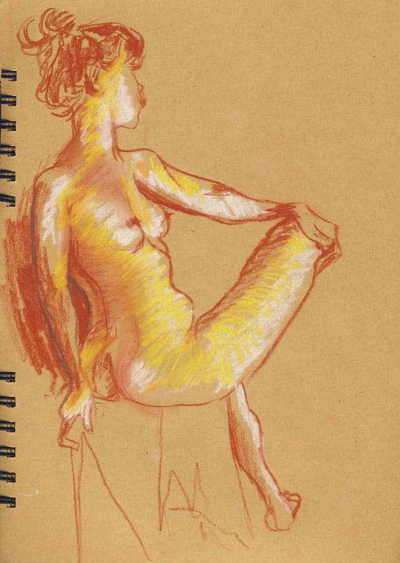 femme assise dessin atelier de nu modèle vivant