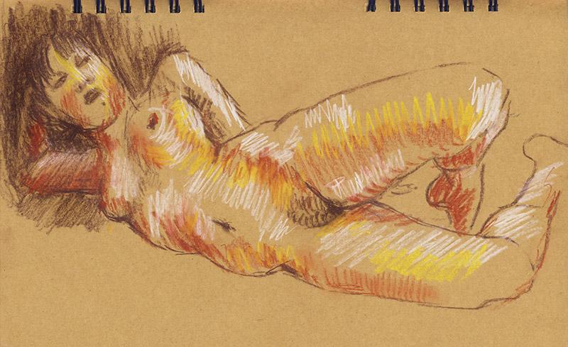 femme nue dessin lascive sanguine