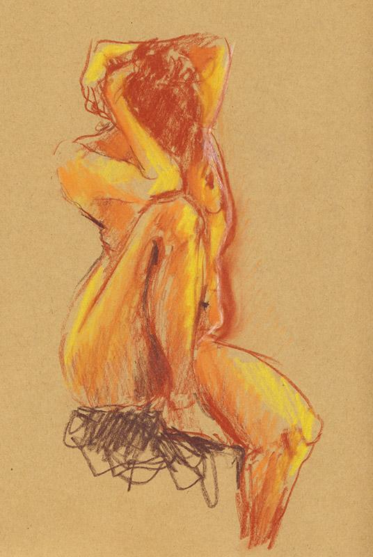 dessin de femme nu, atelier de modèle vivant, assise, recroquevillée