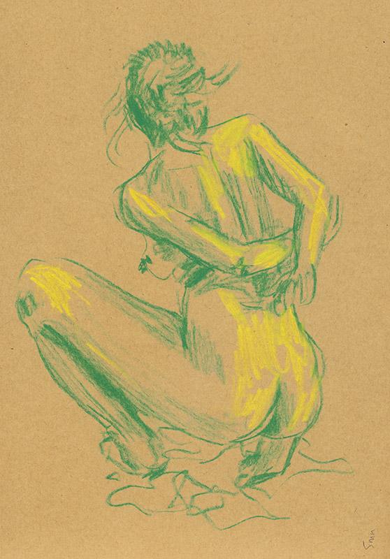 dessin de nu en vert et jaune, femme
