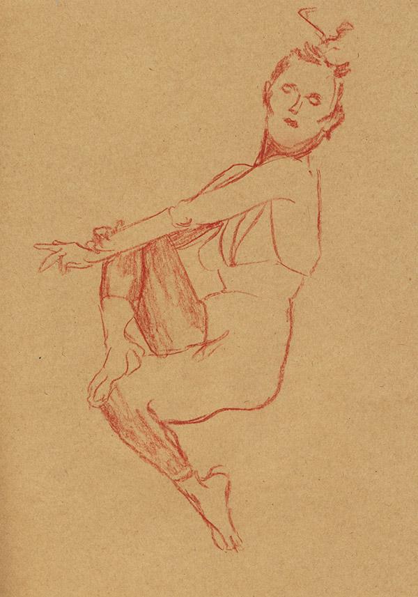 dessin pastel au trait femme habillée danseuse