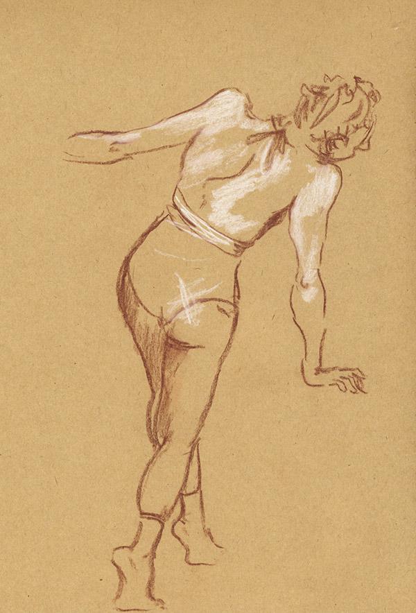 dessin atelier modèle danseuse pastel