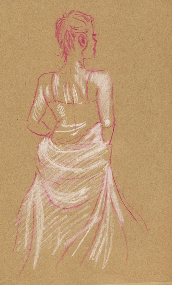 femme de dos dessin pastel rose