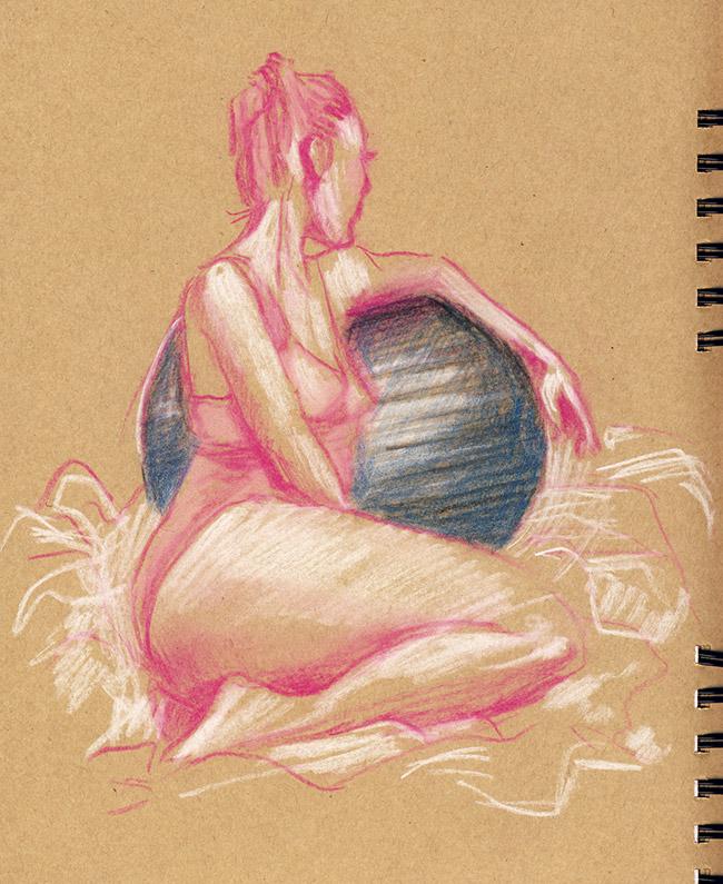 grande chaumière nageuse balle assise femme pastel dessin