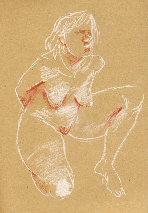 dessin de nu féminin pastel sec crayon blanc sur kraft