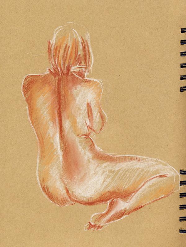dessin atelier nu femme pastel de dos