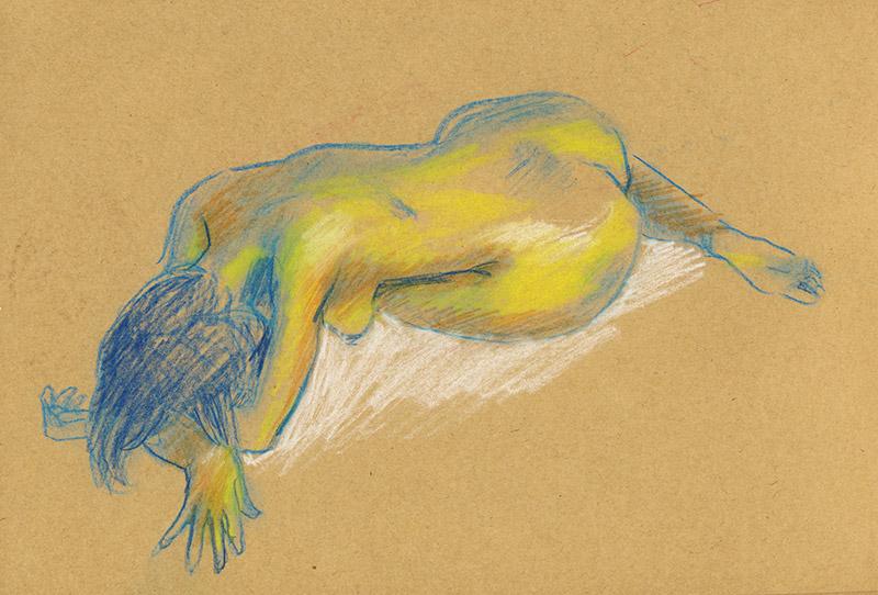 dessin de nu féminin bleu vert jaune sur kraft