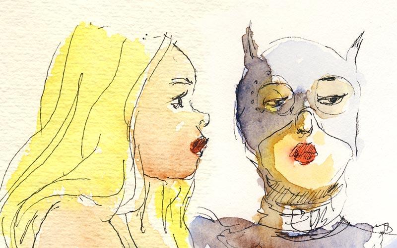 catwoman en dessin docteur sketchy paris france aquarelle
