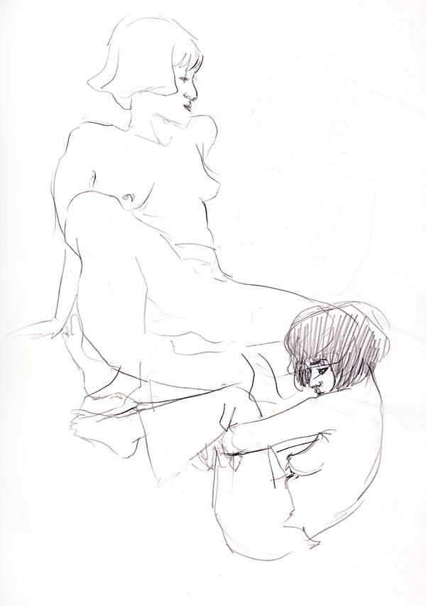 pose rapide dessin de nu féminin 2 minutes grande chaumière