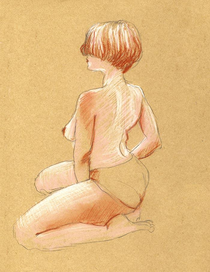 pose dessin de nu fémini cours de nu atelier pastels grande chaumière couleurs papier craft paris