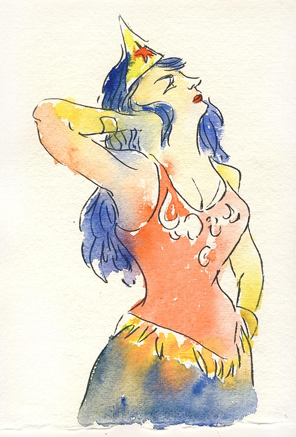 wonder woman aquarelle docteur sketchy mona bismarck