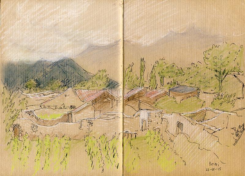 pompéi pastels naples paysage ruines