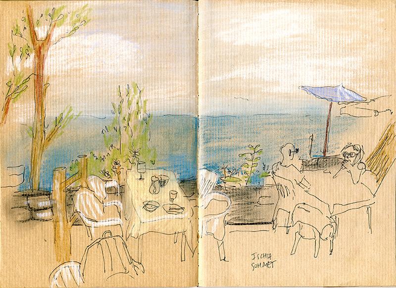 épémeo ischia dessin pastels colors
