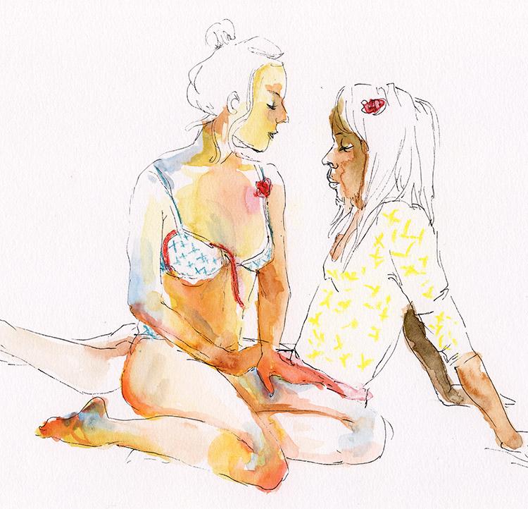 duo nu aquarelle grande chaumière dessin d'observation couple