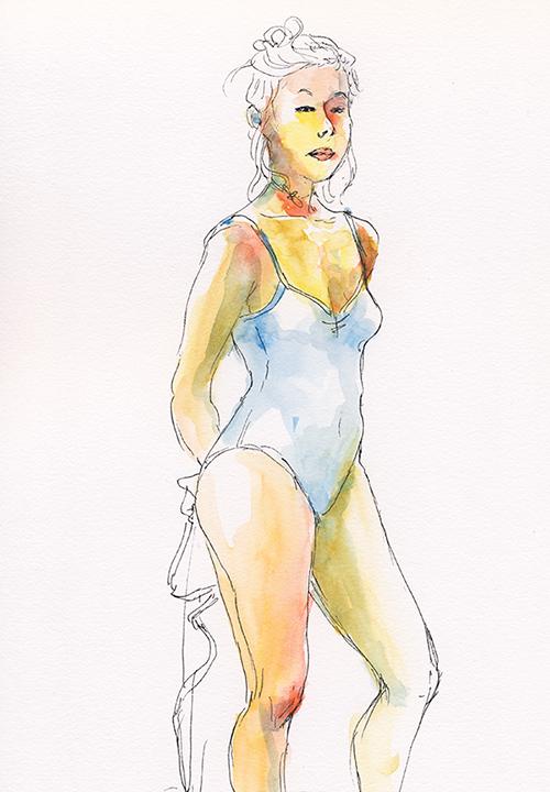 femme nuisette dessin aquarelle