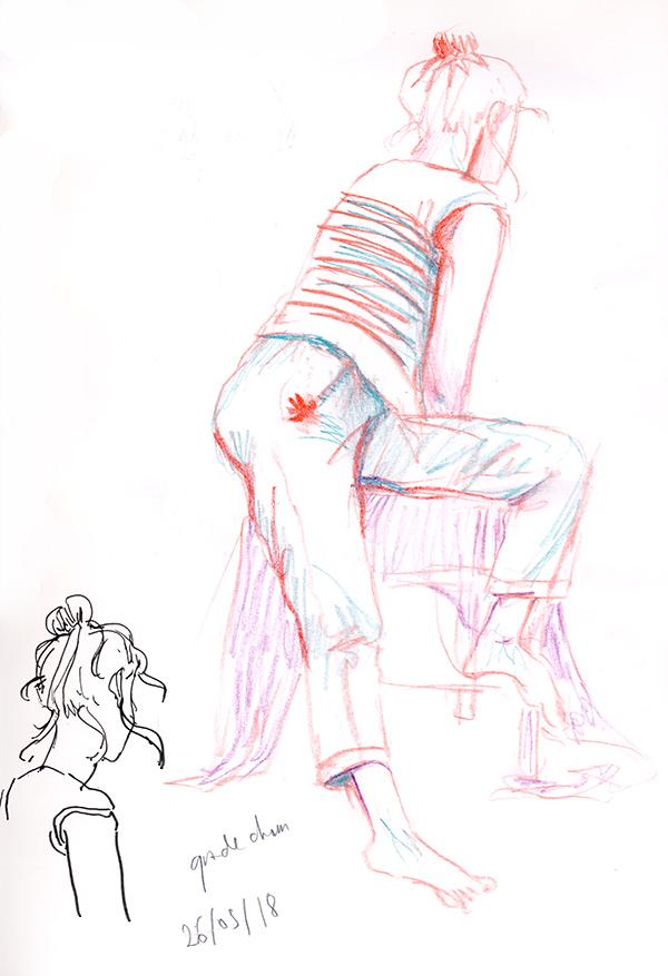 dessin pastel de dos habillé