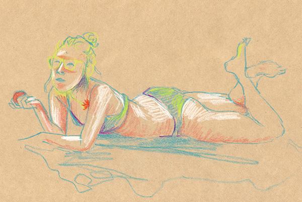 femme plage dessin pastel mandarine