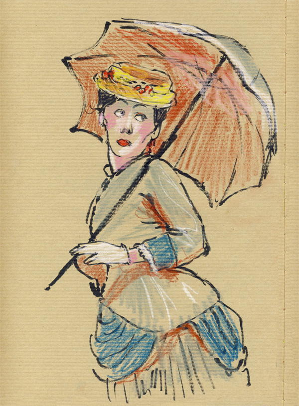 dessin pastel, grand magasin, belle époque, femme ombrelle