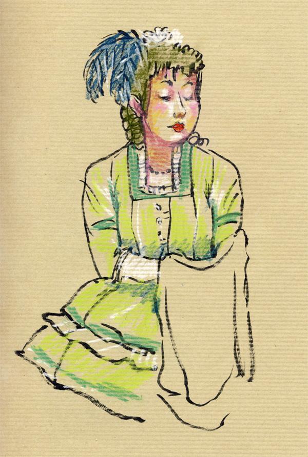 dessin pastel, grand magasin, belle époque, femme en vert, plume